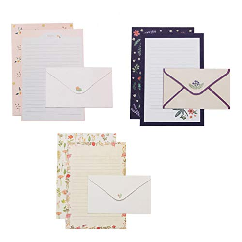 NUOBESTY Envelopes and Writing Letter Papers Vintage Writing Stationery Paper Lovely Writing Stationery Paper Floral Stationary Set for Office Home School (6 Sets)