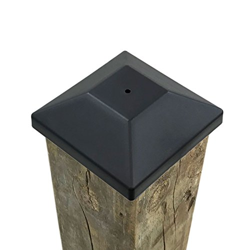 (32 Pack) 4x4 Wood Fence Post Caps (3 5/8') Black, Decking Caps for Pressure Treated Wood Fence, Made in USA