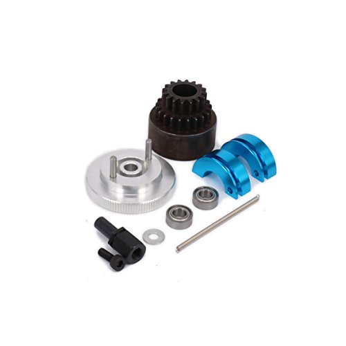 RCAWD Two Speed Clutch Set Bell Shoes Springs Flywheel Bearings Axle 16T-21T 16-21 Tooth Teeth for 1/10 RC Hobby Model Nitro Car HPI HSP Traxxas Axial 1set(Blue)