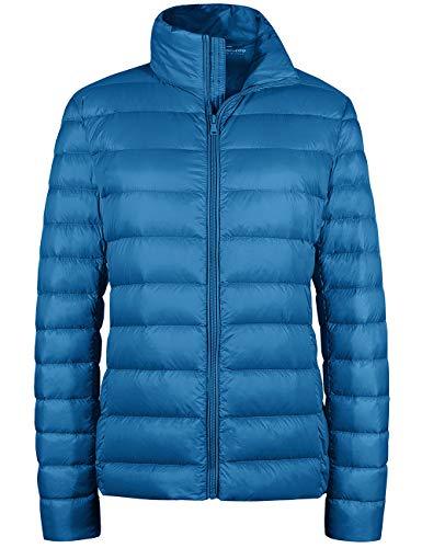 Wantdo Ladies Cold Weather Coat Winter Packable Short Down Jacket Acid Blue 2XL