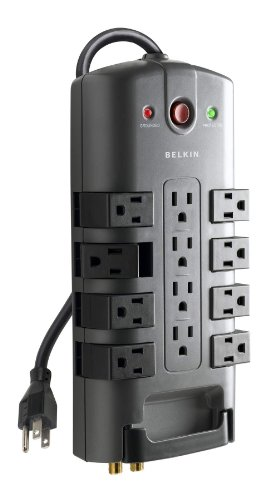 Belkin BP11223008 12-Outlet Pivot-Plug Power Strip Surge Protector w/ 8ft Cord – Ideal for Computers, Home Theatre, Appliances, Office Equipment and More (4,320 Joules)