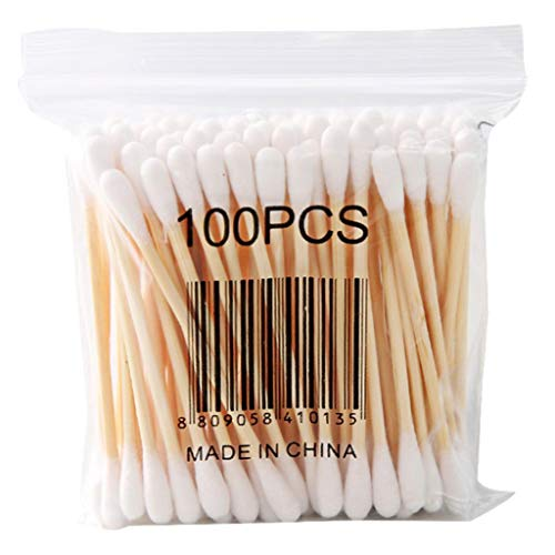 ErYao 100 Count Cotton Swabs with Wooden Handles Cotton Double Round Tips Applicator, 10 Pack (Multicolor)