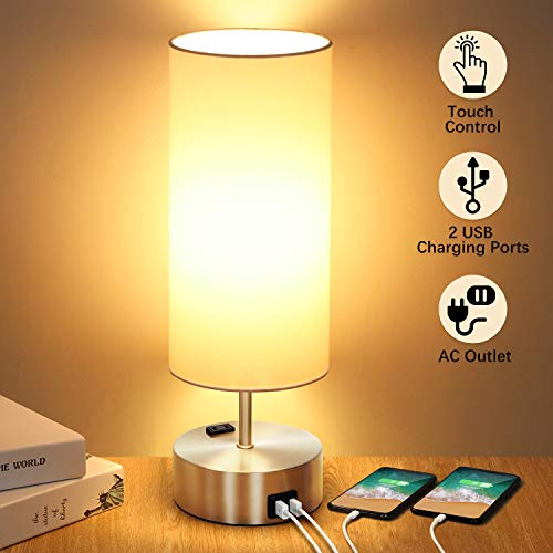 3-way Touch Control Table Lamp with 2 Fast Charging USB Ports and Power Outlet, Dimmable Lamp Modern Bedside Lamp Nightstand Lamp for Bedroom Living Room Office Reading, 60W LED Bulb Included (Silver)