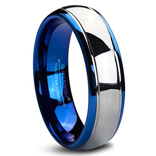 Queenwish 6mm Tungsten Carbide Wedding Bands Blue Silver Dome Gunmetal Promise Rings for Couples 10
