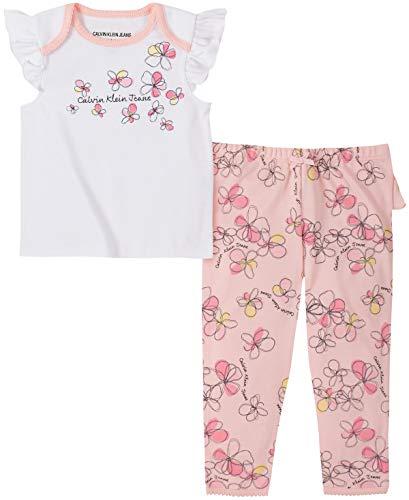 Calvin Klein Baby Girls' 2 Pieces Pants Set, White/Print, 0-3 Months