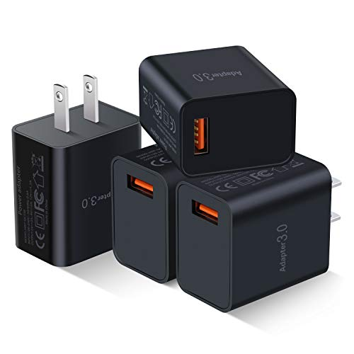 [4-Pack] QC 3.0 USB Wall Charger, Besgoods 18W QC 3.0 USB Charger Adapter Fast Charging Block Compatible Wireless Charger, Samsung Galaxy S9 S8/Note 8 9, iPhone, iPad, LG, HTC 10 and More