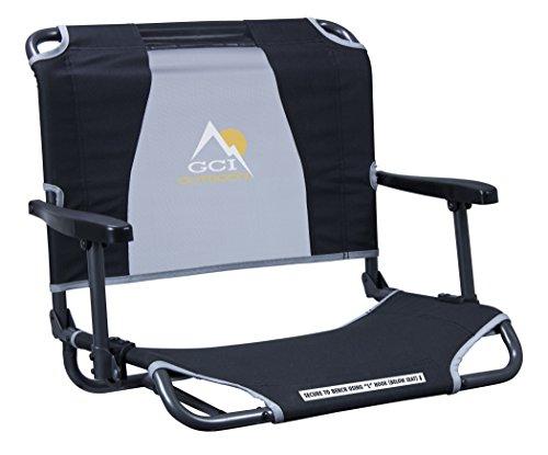 GCI Outdoor Big Comfort Wide Stadium Bleacher Seat with Back and Armrests, Black