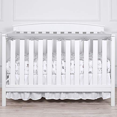 TILLYOU 1-Pack Padded Baby Crib Rail Cover Protector Safe Teething Guard Wrap for Long Front Crib Rails(Measuring Up to 8' Around), 100% Silky Soft Microfiber Polyester, Reversible, White/Pale Gray