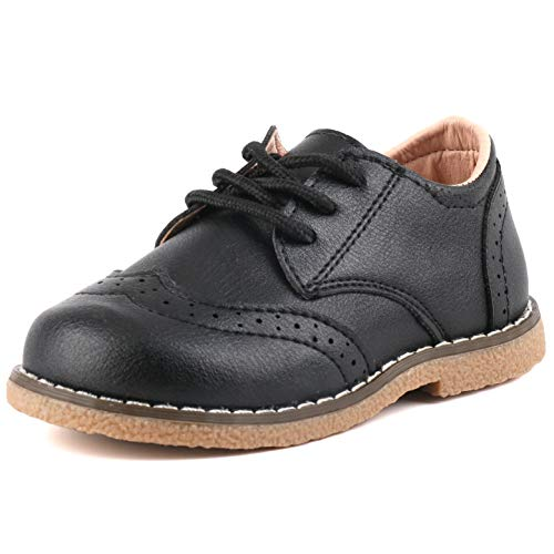 Moceen Boy's Girl's Classic Lace-Up Oxford Shoes Comfort School Uniform Dress Loafer Flats,6 Toddler,Black,8130 22