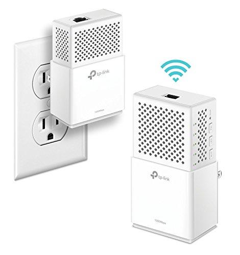 TP-Link AV1000 Powerline Wifi Extender, Powerline Adapter  Dual Band WiFi, Gigabit Port, Noise Suppression Design, Plug&Play, Power Saving(Tl-WPA7510 KIT), White, Model:AC750