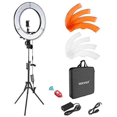 Neewer Ring Light Kit:18'/48cm Outer 55W 5500K Dimmable LED Ring Light, Light Stand, Carrying Bag for Camera,Smartphone,YouTube,Self-Portrait Shooting, Black, Model:10088612