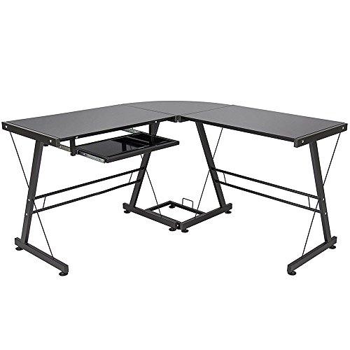 3-Piece Corner Desk, Black with Black Glass Corner L-Shape Office Computer Desk PC Stalinite Laptop Table Workstation Home