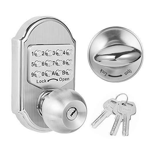 Hangcheng Keyless Entry Door Lock Deadbolt Keypad Digital Combination Higher Security Keypad Door Knob Mechanical Stainless Steel #304 (Pass Code or Key)