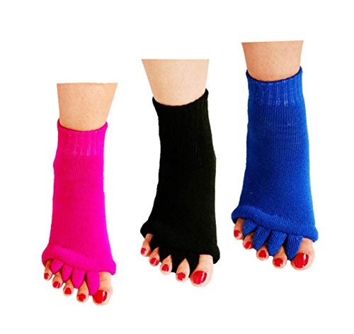 ReachTop Toe Separator Socks, 3 Pairs Foot Alignment Socks Yoga Gym Massage Toeless Socks Pain Relief Improves Circulation Stretchy Happy Feet Socks for Women Men (Black & Hot Pink & Blue)