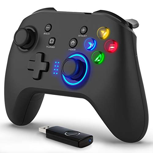 Forty4 Wireless Gaming Controller, Dual-Vibration Joystick Gamepad Computer Game Controller for PC Windows 7/8/10, PS3,/Switch/TV Box/Laptop/Android Mobile Phones - Black