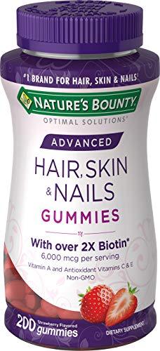 Nature's Bounty Optimal Solutions Advanced Hair, Skin, Nails, 2X Biotin, 200 Strawberry Gummies