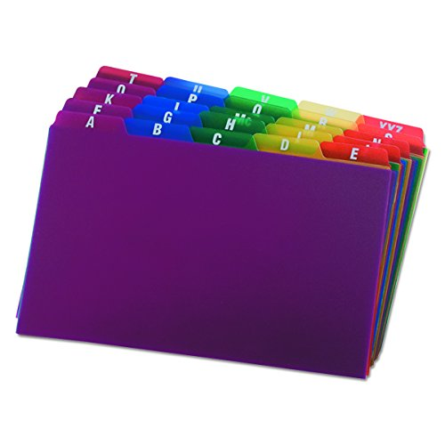 Oxford Poly Index Card Guides, Alphabetical, A-Z, Assorted Colors, 5' x 8' Size, 25 Guides per Set (73155)