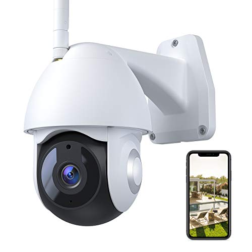 Security Camera Outdoor, Voger 360°View WiFi Home Security Camera System 1080P with IP66 Weatherproof Motion Detection Night Vision 2-Way Audio Cloud Camera Works with Alexa and Google Home
