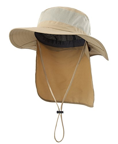 Home Prefer Mens Fishing Hat with Neck Protection UPF 50+ Sun Bucket Hat for Outdoor Hunting Gardening Khaki