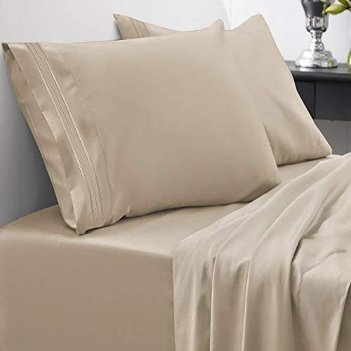 1800 Thread Count Sheet Set – Soft Egyptian Quality Brushed Microfiber Hypoallergenic Sheets – Luxury Bedding Set with Flat Sheet, Fitted Sheet, 2 Pillow Cases, King, Taupe