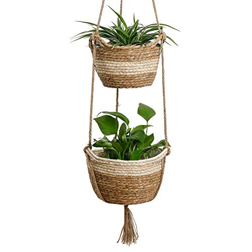 Seagrass Hanging Planters Basket Indoor - Hanging Two Layers Natural Seagrass Basket Flower Pot Holder Containers Storage Organizer with Waterproof Plastic Liner, 41.3 Inch Long(Brown&Beige)
