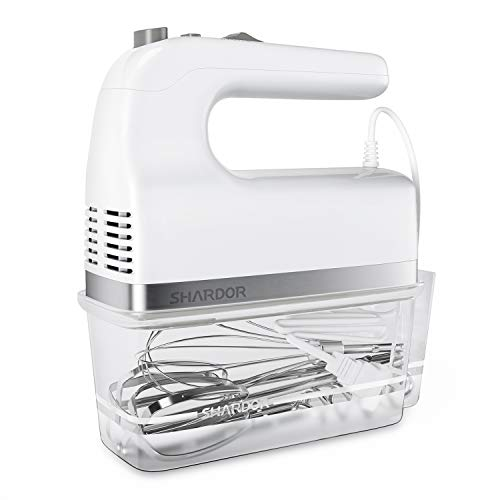 SHARDOR Hand Mixer 350W Power Advantage Electric Handhold Mixers with 5 Stainless Steel Attachments(2 Beaters, 2 Dough Hooks and 1 Whisk), Storage Case, White