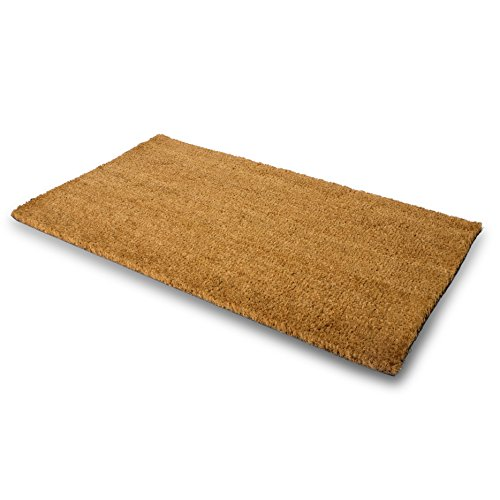 Pure Coco Coir Doormat with Heavy-Duty PVC Backing - Natural - Size: 17-Inches x 30-Inches - Pile Height: 0.6-Inches - Perfect Color/Sizing for Outdoor/Indoor uses.
