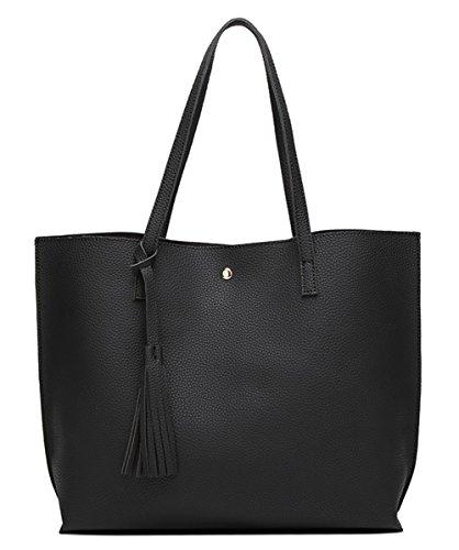 Women's Soft Faux Leather Tote Shoulder Bag from Dreubea, Big Capacity Tassel Handbag Black