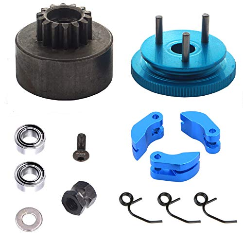 ShareGoo RC 14T Clutch Bell Shoes Bearings Gear Flywheel Assembly Kit Springs Cone Engine Nut for HPI HSP Traxxas Axial Himoto 1/8 RC 21-28cxp Nitro Engine Car