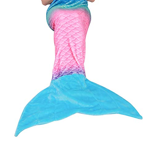 "softan Mermaid Tail Blanket for Teens Adults,Plush Soft Flannel Fleece All Seasons Sleeping Blanket,Rainbow Ombre Fish Scale Design Snuggle Blanket,Best Gift for Women,25""×60"""