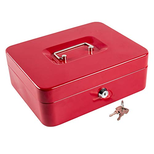 Kyodoled Large Metal Cash Box with Money Tray and Lock,Money Box with Cash Tray,Cash Drawer,9.84'x 7.87'x 3.54' Red Large
