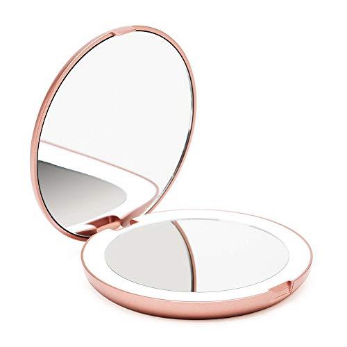 Fancii LED Lighted Travel Makeup Mirror, 1x/10x Magnification - Daylight LED, Compact, Portable, Large 5' Wide Illuminated Folding Mirror (Lumi) (Rose Gold)