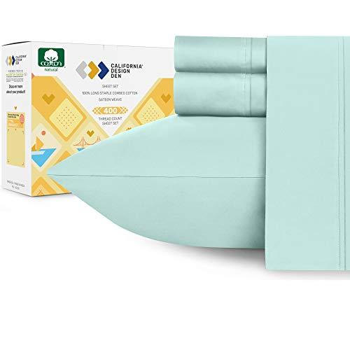 California Design Den Long-Staple Combed Pure Natural Cotton Bedding, Soft & Silky Sateen Weave (Queen: 4 Pc Sheet Set, Seafoam)