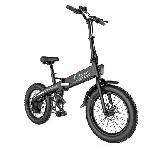 G-Force Folding Electric Bicycle, 20-inch 4.0 Fat tire, Detachable Battery, 7-Speed Gear City Commuter Electric Bicycle.