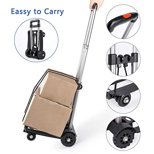 Luggage Cart Folding Hand Trucks, Lightweight Collapsible Portable Hand Cart, Heavy Duty 110 lbs Loading for Travel, Moving, Office Use