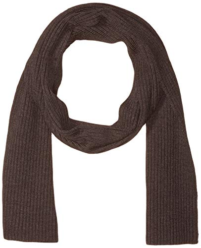 Lacoste Mens Rib Wool Scarf Cold Weather Scarf, Mocha Heathered, One Size