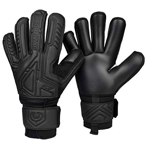 Renegade GK Fury Nightfall Goalie Gloves with Pro-Tek Finger Spines   4mm Giga Grip & 4mm Duratek   Black Soccer Goalkeeper Gloves (Size 7, Youth, Roll Cut, Level 4)