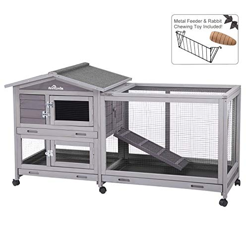 Aivituvin 62' Rabbit Hutch Indoor and Outdoor Bunny Cage on Wheels with 3 Deep No Leakage Pull Out Tray,Waterproof Roof (Grey)