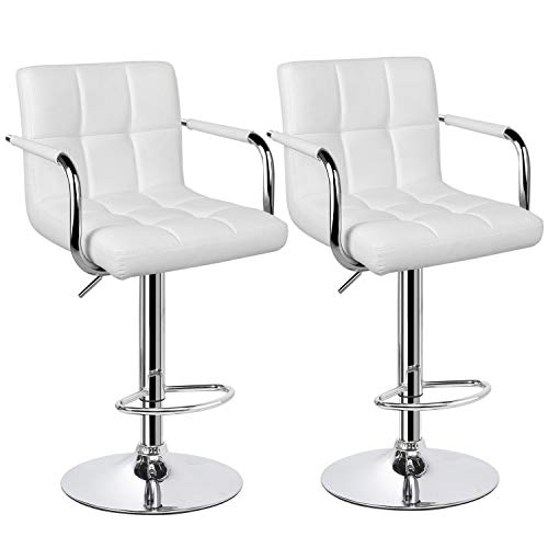 Yaheetech Tall Bar Stools Set of 2 Modern Square PU Leather Adjustable BarStools Counter Height Stools with Arms and Back Bar Chairs 360 Swivel Stool White