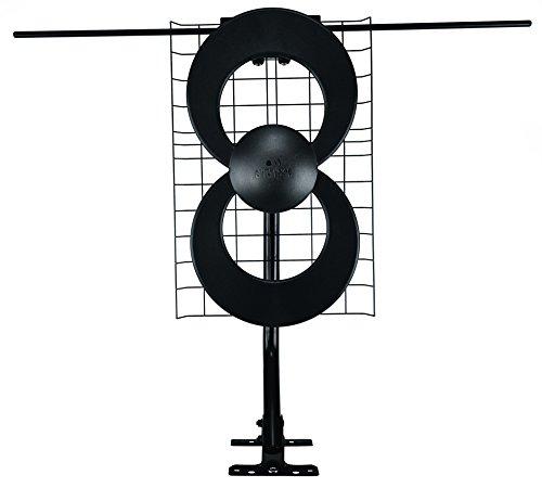 Antennas Direct ClearStream 2V TV Antenna, 60+ Mile Range, UHF/VHF, Multi-directional, Indoor, Attic, Outdoor, Mast w/Pivoting Base/Hardware/ Adjustable Clamp, Sealing Pads, 4K Ready, Black  C2-V-CJM