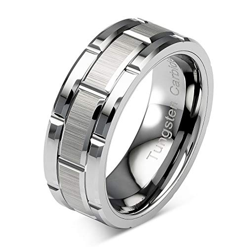 100S JEWELRY Tungsten Rings for Men Wedding Band Silver Brick Pattern Brushed Engagement Promise Size 6-16 (Tungsten, 12)