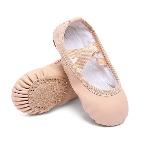 CUTE STARS Girls Leather Dance Ballet Shoes Slippers for Girls/Kids/Toddlers(10MT,Ballet Pink)