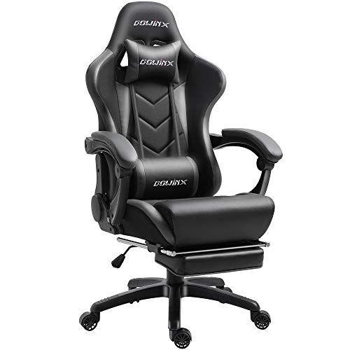 Dowinx Gaming Chair Ergonomic Office Recliner for Computer with Massage Lumbar Support, Racing Style Armchair PU Leather E-Sports Gamer Chairs with Retractable Footrest (Black&Gray)