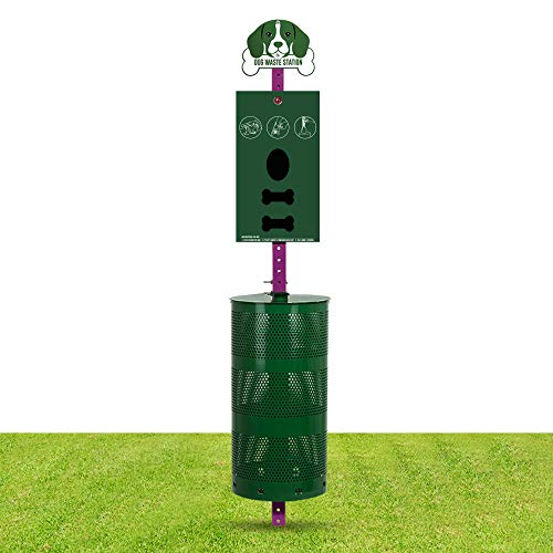 Dog Waste Station Everything Included Pet Waste Station with Sign Board Dual Bag Dispenser Large Disposal Bin Rust Free 400 Roll Bags 400 Pull Bags 50 Can Liners Home Commercial Park Poop Stations