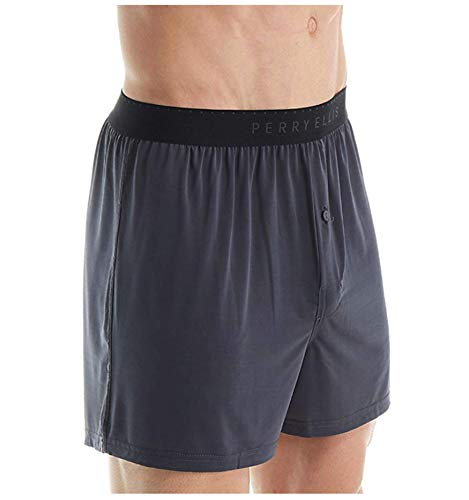Perry Ellis Men's Luxe Solid Boxer Shorts, Ebony, Medium