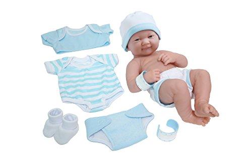 La Newborn Nursery 8 Piece Layette Baby Doll Gift Set, featuring 14' Life-Like Smiling Newborn Doll, Blue