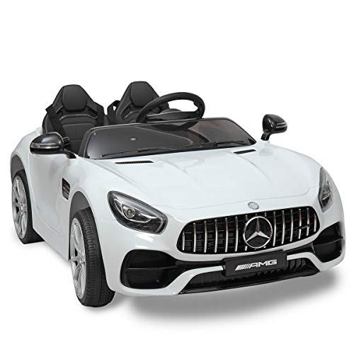 JAXPETY Benz Licensed Electric Powered Kids Ride-on Car Toy 2 Seat with Remote Control LED Light, White