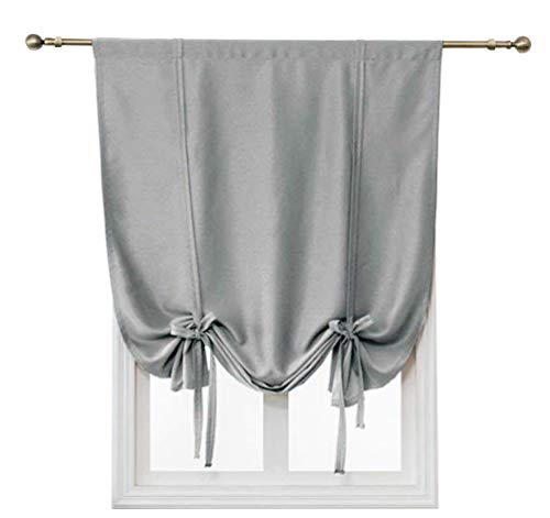 HomeyHo Thermal Insulated Tie Up Curtains Rod Pocket Short Curtains for Small Window Room Darkening Roman Curtains for Living Room Balloon Shades for Windows Small, 24 x 47 Inch, Gray