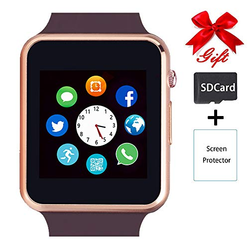 Smart Watch,Unlocked Touchscreen Smartwatch Compatible with Bluetooth/Android/IOS (Partial Functions) Call and Text Camera Notification Music Player Wrist Watch for Women Men(Gold)