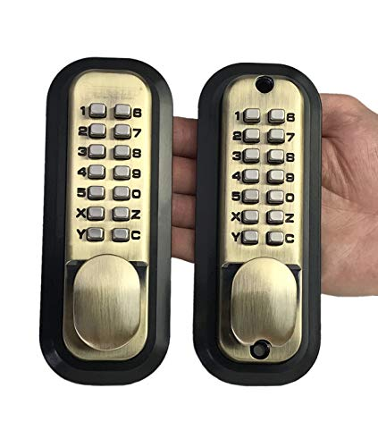 All-Weather Double Keypad Mechanical Keyless Door Lock (Antique Brass) by Code-a-Key